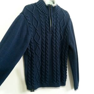 Calvin Klein Boys Sweater | Knit Cables Navy